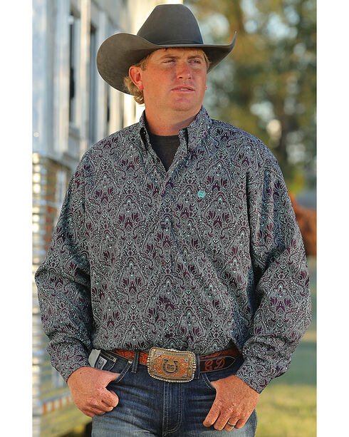 Cinch Men's Paisley Print Long Sleeve Shirt , Multi, hi-res