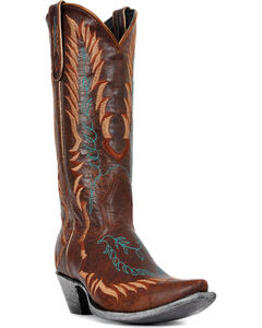 Johnny Ringo Embroidered Western Cowgirl Boots - Snip Toe, Brown, hi-res