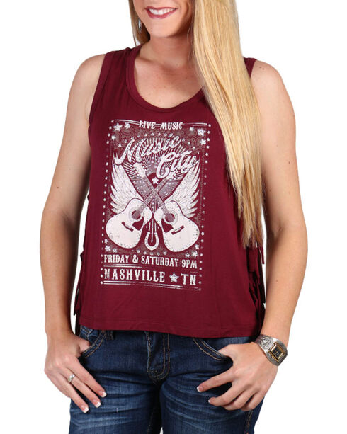 Shyanne Women's Music City Tank Top, Burgundy, hi-res