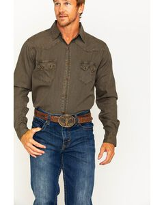 Ryan Michael Men's Espresso Saw Tooth Western Shirt  , Loden, hi-res