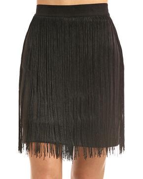 Rock & Roll Cowgirl Women's Black Fringe Trim Skirt, Black, hi-res