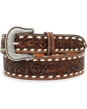 Nocona Men's Brown Scrolling Cheyenne Etched Belt , Brown, hi-res