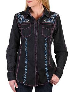 Grace in LA Women's Black Embroidered Western Shirt , Black, hi-res