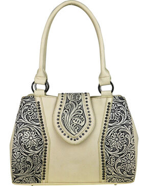 Trinity Ranch Women's Tooled Leather Concealed Carry Satchel , Beige/khaki, hi-res
