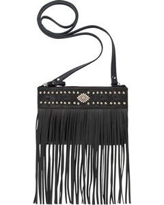 American West Women's Black Fringe Crossbody Bag, Black, hi-res