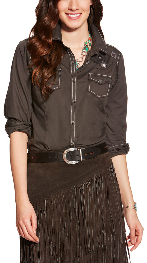 Ariat Women's Lava Beach Charlotte Snap Shirt , Grey, hi-res