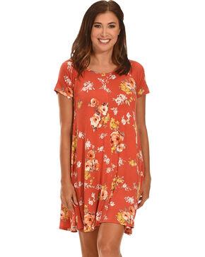 Ces Femme Women's Floral Short Sleeve Knit Dress , Red, hi-res