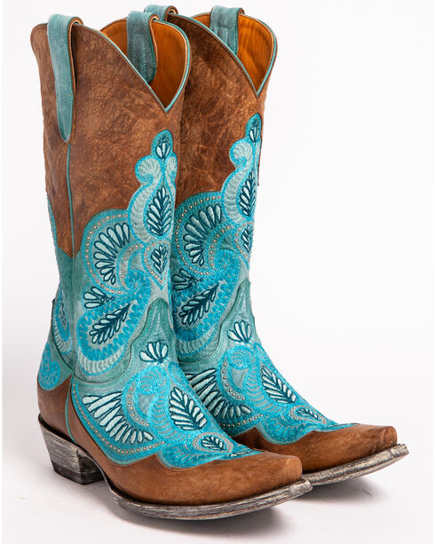 Old Gringo Women's Bell Embroidered Western Boots - Snip Toe, Blue, hi-res