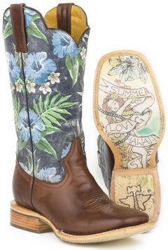 Tin Haul Blue Hawaii Cowboy Boots - Square Toe , , hi-res