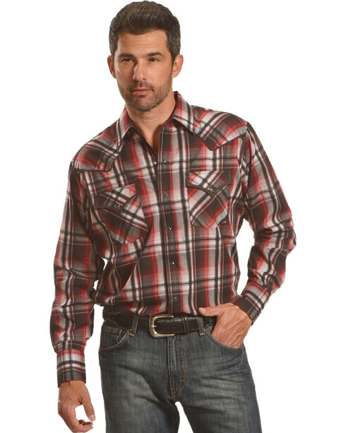 Ely Cattleman Men's Burgundy Assorted Textured Plaid Long Sleeve Western Snap Shirt, Multi, hi-res