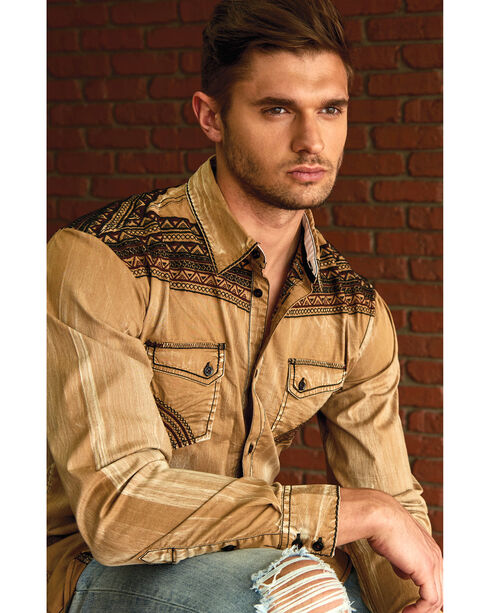 Austin Season Men's Tribal Embroidered Button Down Shirt, Brown, hi-res