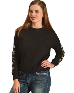 Derek Heart Women's Emmy's Embroidered Pullover, Black, hi-res
