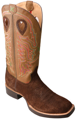 Twisted X Ruff Stock Cowboy Boots - Square Toe , Chocolate, hi-res
