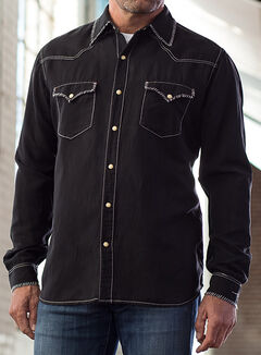 Ryan Michael Men's Black Double Needle Western Shirt, , hi-res