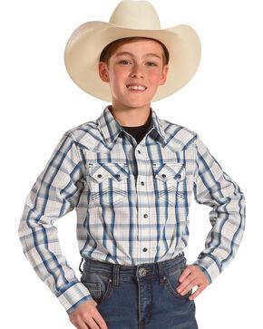 Cody James Boys' Butch Plaid Long Sleeve Shirt, White, hi-res