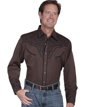 Scully Tribal Embroidered Retro Western Shirt, Chocolate, hi-res