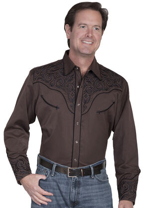 Scully Fancy Full Stitched Retro Western Shirt - Big & Tall, Chocolate, hi-res