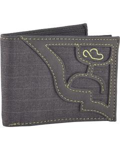 Hooey Men's Grey Signature Pin Stripe Bi-Fold Wallet , Grey, hi-res