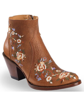 Shyanne Women's Floral Embroidered Booties - Round Toe , Brown, hi-res