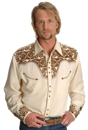 Scully Gunfighter Heavily Embroidered Retro Western Shirt - Big, Natural, hi-res