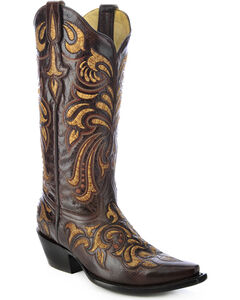 Corral Multicolored Embroidered Cowgirl Boots - Snip Toe, , hi-res