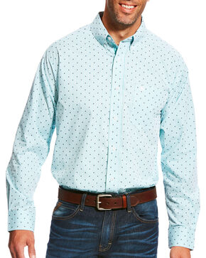 Ariat Men's Pro Series Maximillion Print Long Sleeve Button Down Shirt - Big & Tall, Light Blue, hi-res