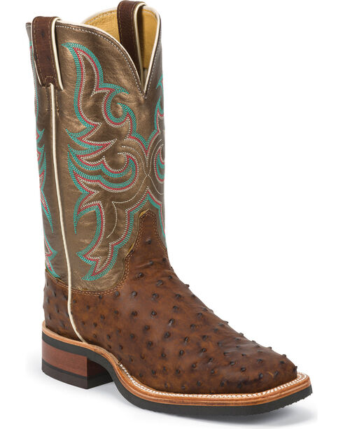 Justin AQHA Full Quill Ostrich Cowgirl Boots - Square Toe, Antique Saddle, hi-res