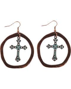 Shyanne Women's Antiqued Hoop Cross Earrings , Turquoise, hi-res