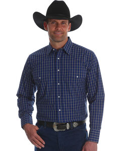 Wrangler Men's Wrinkle Resist Plaid Long Sleeve Shirt - Tall, Blue, hi-res