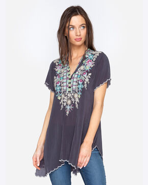 Johnny Was Women's Grey Embroidered Livana Tunic , Grey, hi-res