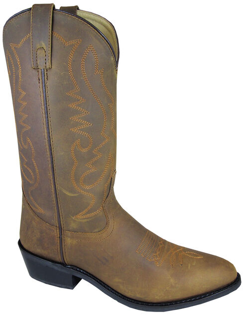 Smoky Mountain Men's Distressed Denver Cowboy Boots - Round Toe, Brown, hi-res