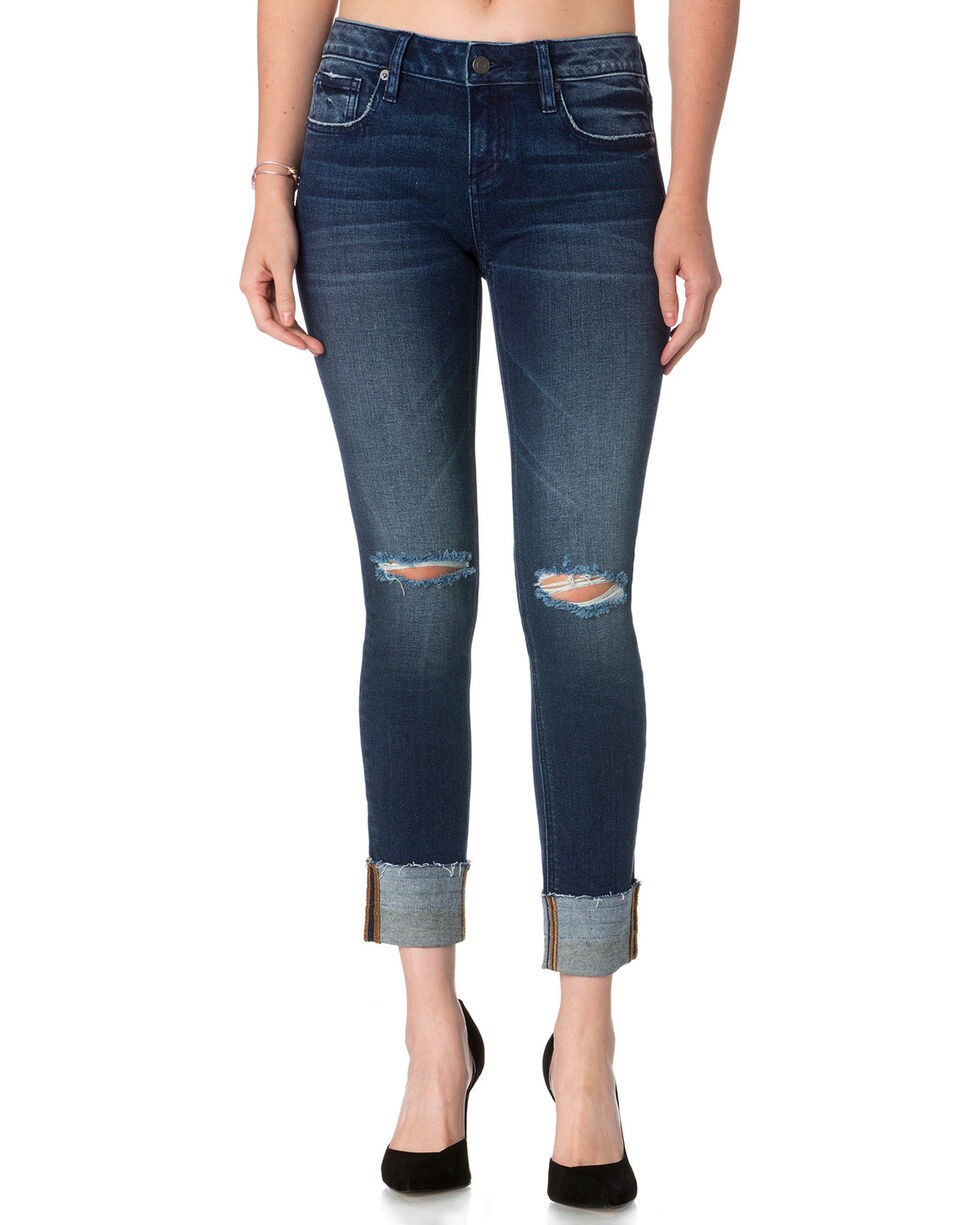 Miss Me Women's Level Up Mid Rise Ankle Straight Cut Jeans , Blue, hi-res