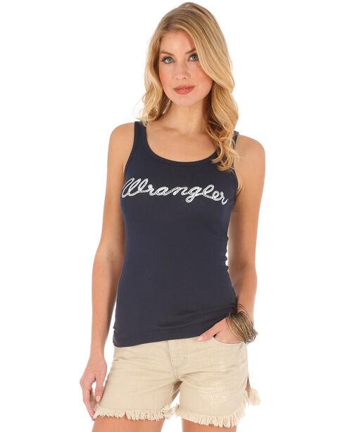 Wrangler Women's Logo Rib Tank Top , Navy, hi-res