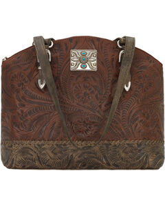 American West Women's Annie's Concealed Carry Half Moon Tote , Chestnut, hi-res