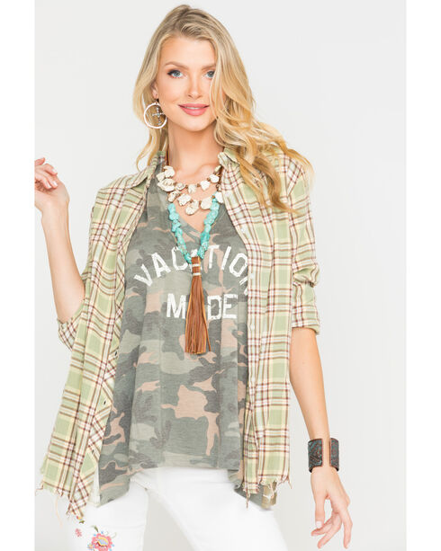 MM Vintage Women's Green Back Embroidered Plaid Shirt , Green, hi-res