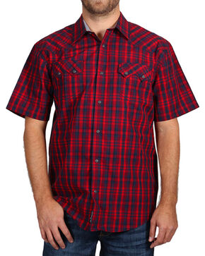 Moonshine Spirit Men's Plaid Short Sleeve Shirt, Red, hi-res