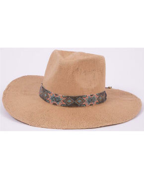 ále by Alessandra Women's Dylan Woven Trim Twisted Toyo Hat, Natural, hi-res