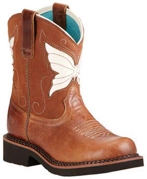 Ariat Girls' Fatbaby Wings Cowgirl Boots - Round Toe, Tan, hi-res