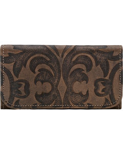 American West Charcoal Brown Baroque Tri-Fold Wallet , , hi-res