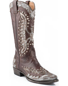 Stetson Eartha Studded Metallic Eagle Cowgirl Boots - Snip Toe, Grey, hi-res