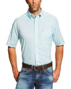 Ariat Men's Blue Edmund Short Sleeve Printed Short Sleeve Shirt , Medium Blue, hi-res