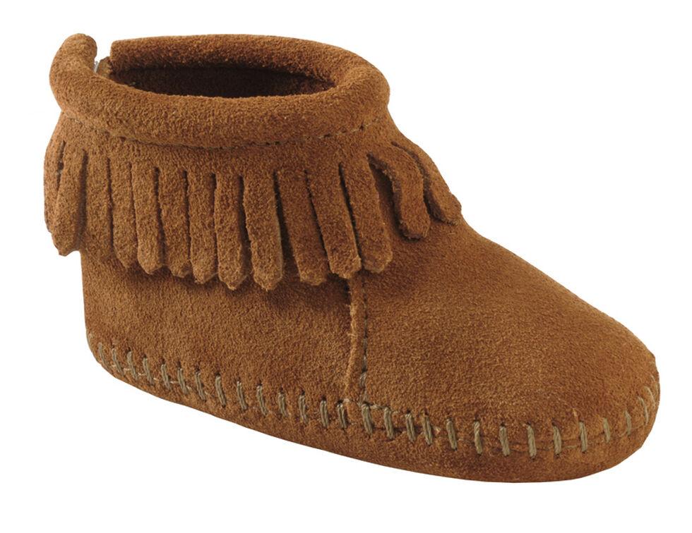 Minnetonka Infant Girls' Suede with Fringe Velcro Back Flap Bootie, Brown, hi-res