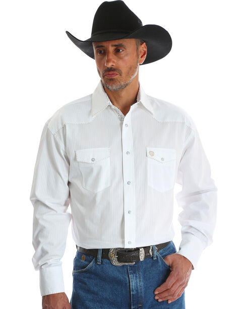 Wrangler Men's White George Strait Troubadour Shirt , White, hi-res