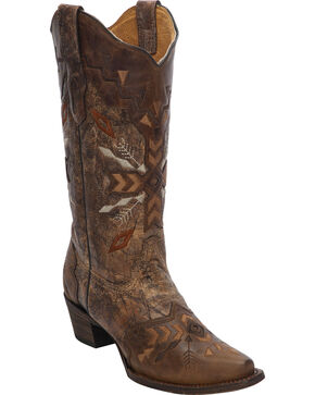 Corral Women's Tribal Embroidered Cowgirl Boots - Snip Toe, Cognac, hi-res