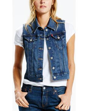 Levi's Women's Washed Denim Vest, Blue, hi-res