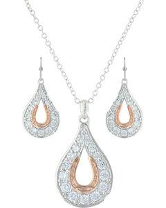 Montana Silversmiths Women's Walking In A Creek Horseshoe Jewelry Set , Silver, hi-res