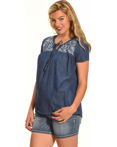 Angel Ranch Women's Paisley Top, Indigo, hi-res