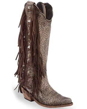 Liberty Black Women's Jaguar Print Studded Fringe Boots - Medium Toe, Multi, hi-res
