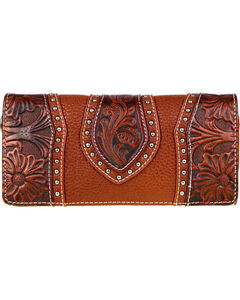 Montana West Trinity Ranch Women's Tooled Leather Wallet, Brown, hi-res
