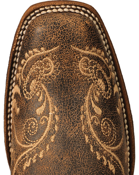 Circle G Dragonfly Embroidered Cowgirl Boots - Square Toe, Brown, hi-res